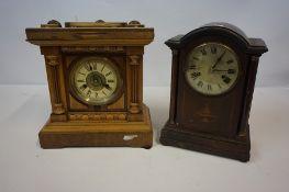 Two Twin Train Mantel Clocks, circa early 20th century, one example by Fattorini & Sons Bradford,