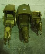 Three Reproduction Brass Horse and Carriage Groups, (3)