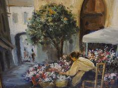 "Ezequiel Torrdella (Spanish 1921-1988) ""Flower Seller"" Oil on Canvas, signed Ezequiel to lower left,"