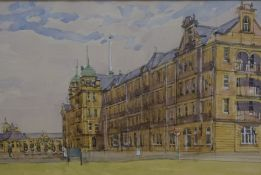 "Ken Howard OBE, RA (Born 1932) ""Army Barracks"" Watercolour, signed lower right, 18.5cm x 27cm,"