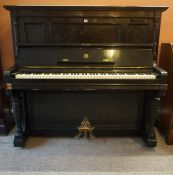 German Overstrung Upright Piano by Rud Ibach Sohn, Ebonised cased, underdamped, serial no 40078,