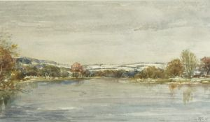 """Scottish School """"Winter on the Tweed"""" (From the Chain Bridge Melrose) Watercolour, 14.5cm x 25."""