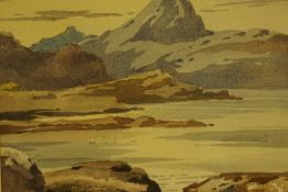 """Stirling Gillespie (Scottish 1908-1993) """"Ben More from Loch Tuath Mull"""" Watercolour, signed lower"""