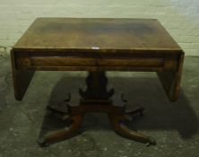 Regency Walnut Sofa Table, circa early 19th century, in the style of Gillows, Having two small