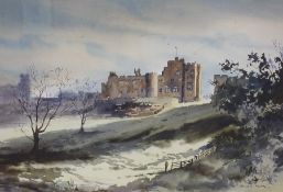 """Ronald Moor (20th century) """"Alnwick Castle"""" Watercolour, signed lower right, 34cm x 49.5cm, framed"""