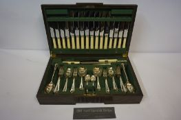 Canteen of Silver Plated Cutlery, Having label for Wilson & Sharp Ltd Edinburgh, cased in oak