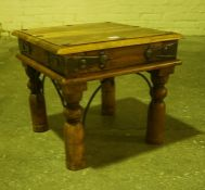 Hardwood Lamp Table, Decorated with metal strapwork and roundels, 40cm high, 46cm wide