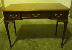 Mahogany Side / Hall Table, Having a central drawer, flanked with a small drawer, raised on pad