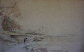 "Owen Frederick Morgan (1867-1953) ""Children Fishing"" Watercolour, signed lower left, 16.5cm x"
