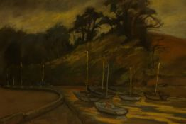 """Sheila Arnot (20th Century) """"Boats at Cramond Edinburgh"""" Pastel, signed and dated 1988 to lower"""