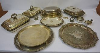 Mixed Lot of Silver Plated Wares, to include a Walker & Hall tray, entree dishes, salvers etc
