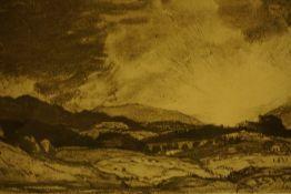 "Sir David Young Cameron RA RSA (Scottish) ""Ben Lomond Sunset"" Grisaille (Watercolour and Pencil)"