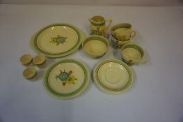Collection of Clarice Cliff Honeydew Pattern Tea and Breakfast Wares, 15 pieces