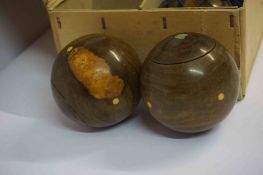 Set of Eight Lignum Vitae Carpet Bowls, Enclosed in an R.G Lawrie of Glasgow box