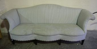 Upholstered Wing Back Three Seater Parlour Style Settee, raised on tapered feet, 83cm high, 242cm