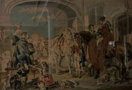 Large Antique Tapestry, Depicting a Continental scene with Figures, 81.5cm x 117cm, gilt framed