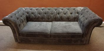 Grey Velour Chesterfield Sofa, 70cm high, 210cm wide