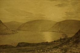 """Tom Scott (Scottish 1854-1927) """"St Mary,s Loch Selkirkshire"""" Grisaille (Watercolour and Pencil)"""