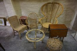 Mixed Lot of Bamboo and Wicker Occasional Tables and Chairs, (7)