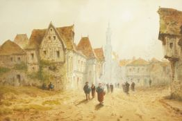 """Francis Thomas Louis Francia (1772-1839) """"Continental Town Scene with Figures"""" Watercolour, signed"""
