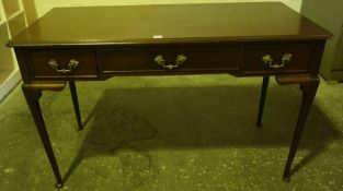 Mahogany Side / Hall Table, Having a central drawer flanked with a small drawer, raised on pad foot,