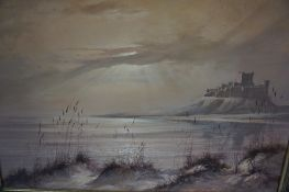 """Ivan Lindsay (20th Century) """"Coastal Scene with Castle in the Backdrop"""" Oil on Canvas, signed and"""