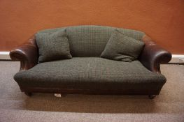 Tetrad Harris Tweed & Leather Four Piece Lounge Suite, Comprising of three seater sofa, stool and