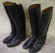 """Two Pairs of Black Riding Boots, with stirrups Condition reportBoot 1 - heel to toe -11.5"""" approx"""