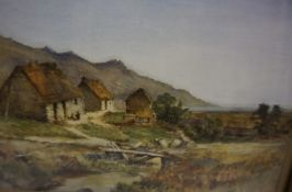 """G Farqhan """"Thatched Cottages"""" Watercolour"""