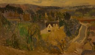 """John McNairn (Scottish 1911-2009) """"Selkirk"""" Oil on Board, signed lower right, 70cm x 121cm, to verso"""