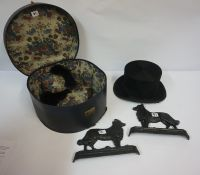 Vintage Black Silk Hat, stamped for Henderson & Co Edinburgh, aperture size is 19.5cm x 16cm, also