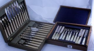 Set of Twelve Mother of Pearl Handled Fruit Knifes and Forks, in fitted box, also with a set of
