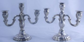 Pair of Silver Candleabra, Having three sconces, stamped 925, makers marks WTB, 20cm high, (2)