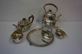 Silver Plated Four Piece Tea Set, Comprising of spirit kettle, tea pot, sugar and cream, also with a
