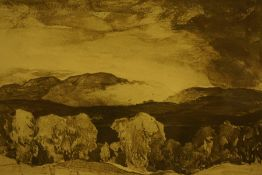 """Sir David Young Cameron RA RSA (Scottish) """"Monteith Hills from Cardross - with Beinn Dhu"""""""