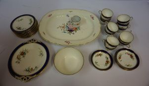 Part China Tea Set, Attributed to Grainger of Worcester, Decorated with floral panels, 34 pieces,