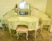French Style Cream Five Piece Piece Bedroom Suite, Comprising of two five drawer serpentine chests