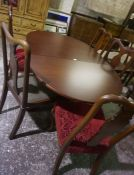 Five Matching Queen Anne Style Dining Chairs, also with a modern drop leaf table, (6)