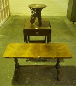 Oak Tea Trolley, 70cm high, 99cm wide, also with a small Burmese table and a coffee table, (3)