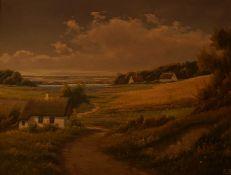 """E.Birk """"Danish Coastal Scene"""" Oil on Canvas, signed lower right, 67cm x 91cm, framed"""