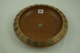 J.Beedie Dundee, Turned Wooden Bowl, inset with shilling coins, 31cm diameter