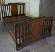 Inlaid Mahogany Double Bed, circa early 20th century, with spring base, 118cm high, 139cm wide,