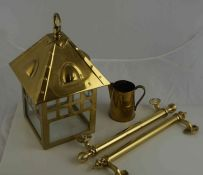 Box of Gilt Window Rails, also with an Arts & Crafts style hall light, small lot of plated wares,