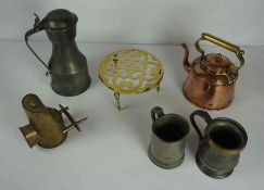 Mixed Lot of Pewter, Brass and Copper Wares, circa 19th century and later, to include a tappit hen