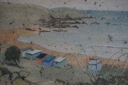 "E.Y. Johnston ""Coldingham Bay"" Watercolour, signed and dated 1984 to lower right, Christmas"