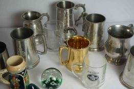 Box of Assorted Tankards, also with two glass paperweights