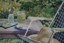 "Freda Blackwood ""Gone to Lunch"" Watercolour, initialled lower left, 13cm x 18cm, label to verso"