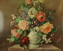 "After Harold Clayton ""Still Life of Flowers"" Oleograph, signed lower left, 53.5cm x 64cm, in a"