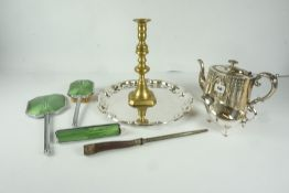 Mixed Lot of Silver Plated Wares, to include a tray, sauce boat, also with an Art Deco three piece