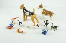 Beswick Airedale Dog Figure, also with a mixed lot of porcelain and minature glass ornaments, to